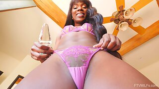 Ebony bombshell Ana plays with a glass dildo and cums super hard