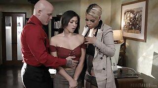 Busty headmistress Bridgette B and cruel teacher Derrick fuck naughty student Brooklyn Gray