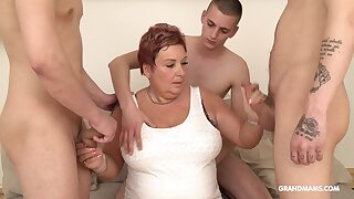 Wealthy old woman pays for gangbang with team a few young guys