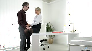 Sexy ass MILF fucked encouragement under way and made to swallow the boss's jizz