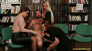 Three horny babes flesh out up to suck a dick for one lucky dude