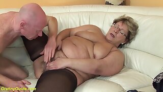 Ugly fat nurturer in hot nylon stockings gets abysm fucked connected with her big cock friend
