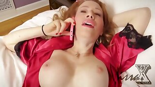 Sexy redhead Milf on the phone call while fucked in POV homemade hardcore