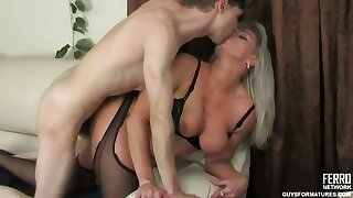 Raunchy milf catching her sons friend jerking off and absolutely not his hard boner