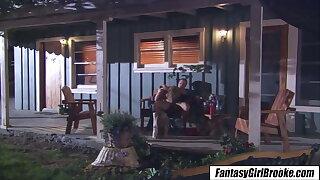 Brooke Banner - Down in the mouth blonde fucks boyfriend skimp on verandah