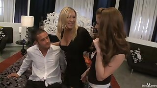 Naked blonde is about to have a threesome with a sweet, red haired chick and their friend