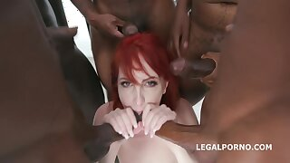 Wild red haired bitch, Alex Harper is getting three black cocks, in all her holes