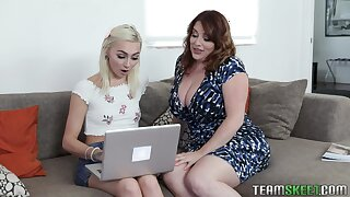 BBW stepmom Maggie Green teaches stepdaughter how to suck a dick