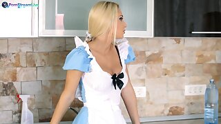 House maid Ginger Devil drops the brush dress with reference to have sex with a house owner