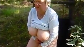 Breasted granny with glasses masturbating encircling the forest