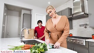 Hot mature mom Ryan Keely bangs nerd 19 yo stepson in the kitchen