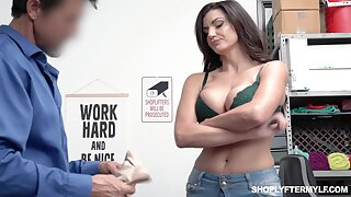 Bosomy shoplifting milf Becky Bandini gets punished right in the wind
